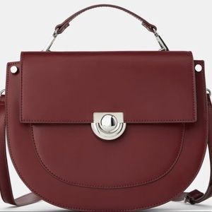 Zara oval shaped burgundy crossbody bag Medium